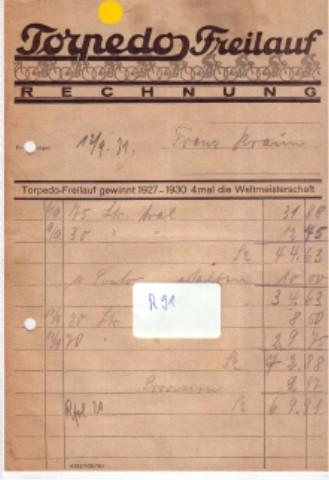 Rechnung - Torpedo Freilauf (im Kopf mit Radfahrern ill.) - Torpedo-Freilauf gewinnt 1927-1930 4 mal die Weltmeisterschaft - ausgestellt 12/9 1931 - keine Firma o.ä. angegeben