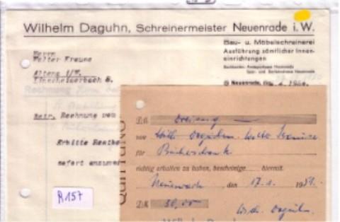 Konvolut Rechnung + Schreiben + Quittung Wilhelm Daguhn ...