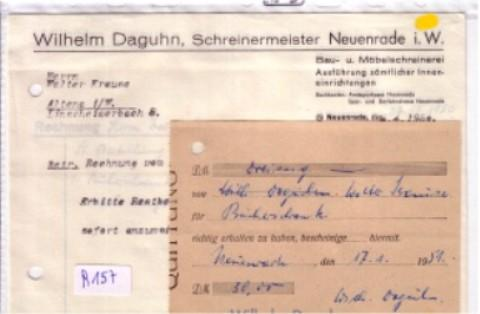 Konvolut Rechnung + Schreiben + Quittung Wilhelm Daguhn Schreinermeister Neuenrade Bau- und Möbelschreinerei 1950 1951