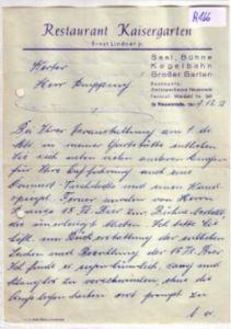Schreiben mit handschrftl. Rechnung Restaurant Kaisergarten Ernst Lindner jr. Neuenrade 1951