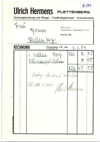 Rechnung Ulrich Hermens Plettenberg Gartengestaltung Gartenpflege Friedhofsgärtnerei Kranzbinderei 1954