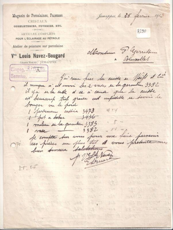 Schreiben (auf französisch) Louis Navez-Bougard Jemappes 1913 ...