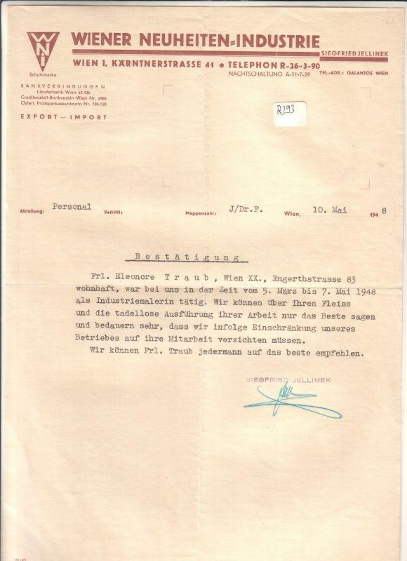 Schreiben Wiener Neuheiten Industrie Siegfried Jellinek 1948 Export ...