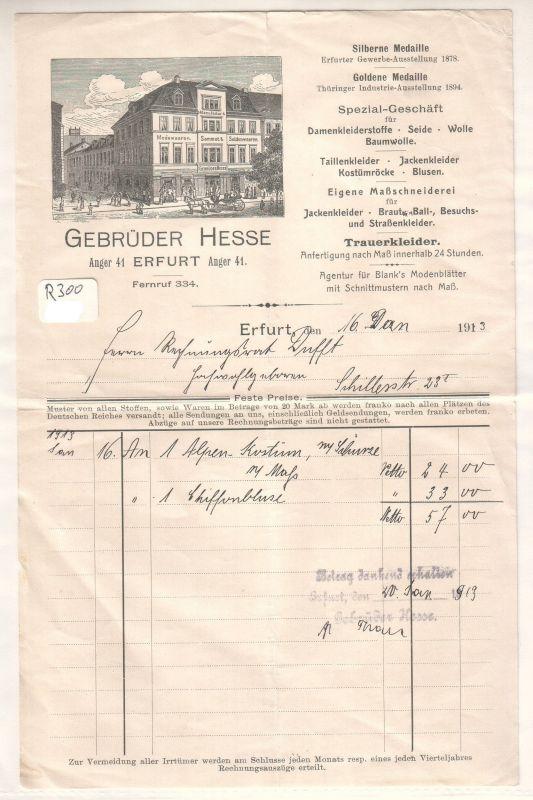Rechnung Gebrüder Hesse Erfurt 1913 Spezial-Geschäft für Damenkleiderstoffe Seide Trauerkleider