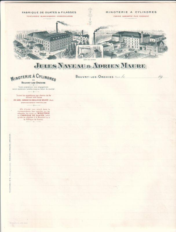 Rechnung (BLANKO) Jules Naveau & Adrien Maure Beuvry-Les-Orchies 1905-1910 Minoterie a Cylindres Fabrique de ouates & filasses gare des usines Jules Naveau & Adrien Maure