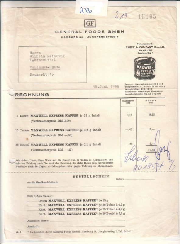 Rechnung der Firma General Foods GMBH, Hamburg, vertreten durch: SWIFT & COMPANY GmbH, Hamburg, vom 18. Juni 1956. - Bestellung: Maxwell Express Kaffee