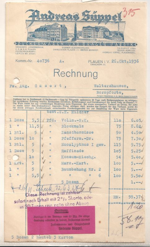 Rechnung der Firma Andreas Süppel, Plauen i.V., vom 26. Oktober 1936 - Zuckerwaren- und Dragee-Fabrik. Unterer Bereich mit angehängter Quittung.