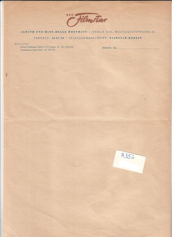 Schreiben/Vordruck (BLANKO) der Firma Der Filmstar, Berlin, ohne Datumsangabe. Almuth und Hans-Helge Hoffmann, Berlin N 65, Malplaquetstrasse 33