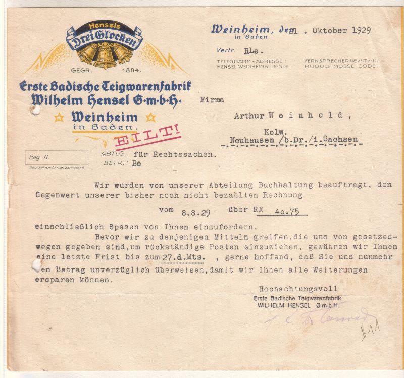 Schreiben der Firma Hensel's Drei Glocken, Weinheim, vom 21. Oktober 1929. Erste Badische Teigwarenfabrik, Wilhelm Hensel GmbH, Weinheim in Baden.