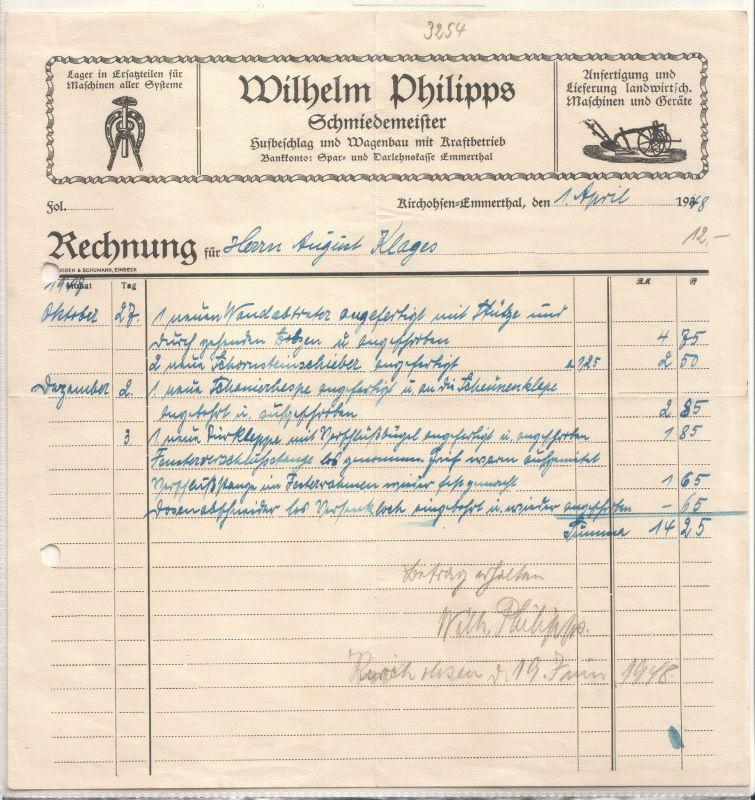 rechnung wilhelm philipps schmiedemeister kirchohsen emmerthal 1948 hufbeschlag wagenbau mit. Black Bedroom Furniture Sets. Home Design Ideas