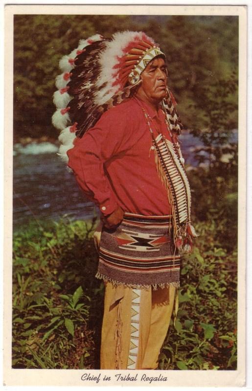 AK USA Indianer Chief in Tribal Regalia 1965 gelaufen