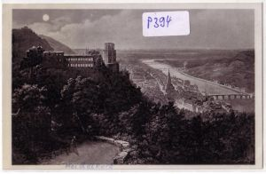 AK Heidelberg vom Wolfsbrunnenweg gesehen bei Mondschein 1938 gelaufen