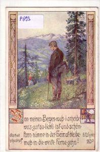 """""""AK Abschied schwäbisch H. Wagner 1830, Spruch: """"""""Von meinen Bergen muß i scheide wo's gar so liebli ist und schön kann nümme in der Heimat bleibe muß in die weite Ferne gehn!"""""""" - geschmückter Rand, 1913 gelaufen"""""""