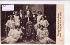 AK Damen-Trompeter-Corps Fledermaus 1913 gelaufen