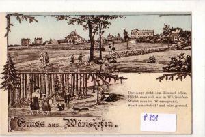 AK Gruss aus Wörishofen, Bad Wörishofen - Kopie einer Karte von 1909. Das Auge sieht den Himmel offen, Blickt man sich um in Wörishofen. Watet man im Wiesengrund, Spart man Schuh' und wird gesund - ungelaufen