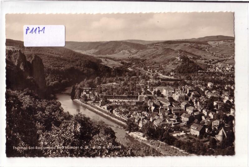 AK Bad Münster am Stein Thermal-Sol-Radiumbad Blick von der Gans