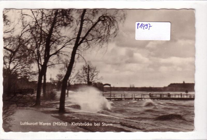 AK Waren Müritz Kietzbrücke bei Sturm