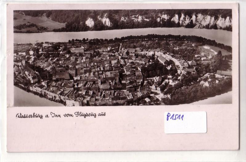 AK Wasserburg am Inn vom Flugzeug aus Luftbild 1953 gelaufen