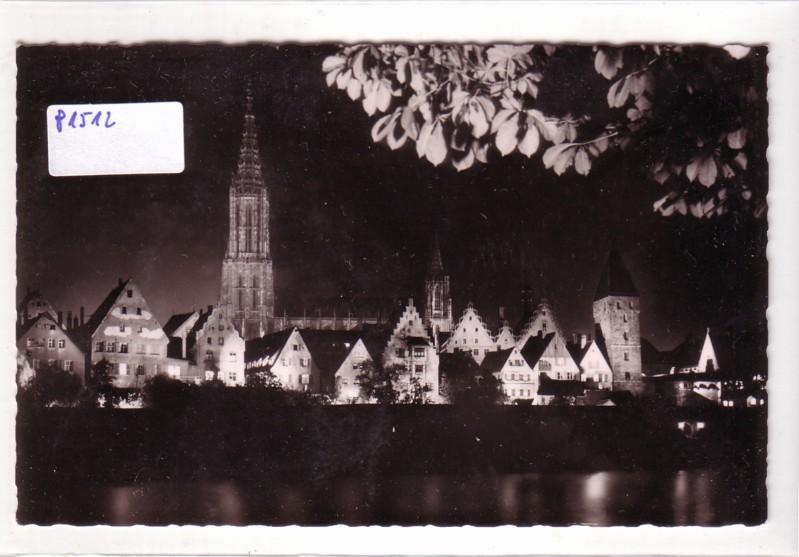 AK Ulm Donau Festbeleuchtung Altstadt und Münster