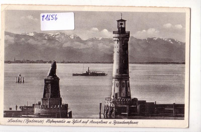 AK Lindau Bodensee Hafenpartie Scesaplana Brandnerferner Leuchtturm Dampfer 1951 gelaufen