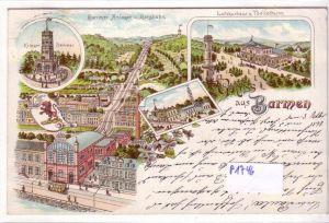 AK Lithographie Gruss aus Barmen Krieger Denkmal Barmer Anlagen und Bergbahn Luftkurhaus und Töllethurm 1898 gelaufen