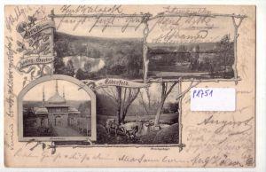 AK Lithographie Gruss vom Zoologischen Garten in Elberfeld Kamelhaus Hirschgehege Blick vom Zoolog. Garten auf Sonnborn Blick vom Kamelhaus 1901 gelaufen