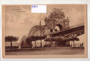 AK Düsseldorf Rheinbrücke 1920 gelaufen