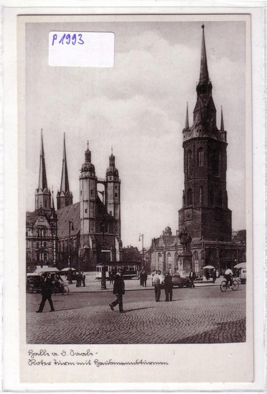 AK Halle an der Saale Roter Turm Marktplatz Straßenbahn 5 Türme