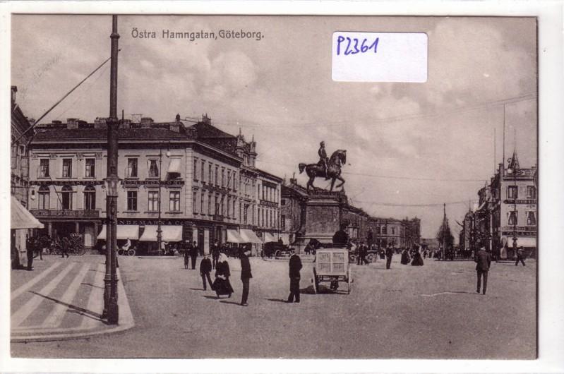 Östra Hamngatan Göteborg Schweden Kutsche Denkmal Pferdewagen