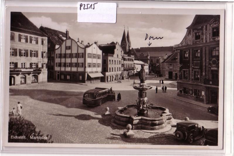 Eichstätt Marktplatz Brunnen Autobus Geschäft Georg Dörr