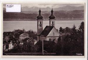 AK Tutzing Ortsansicht mit Kirche ungelaufen