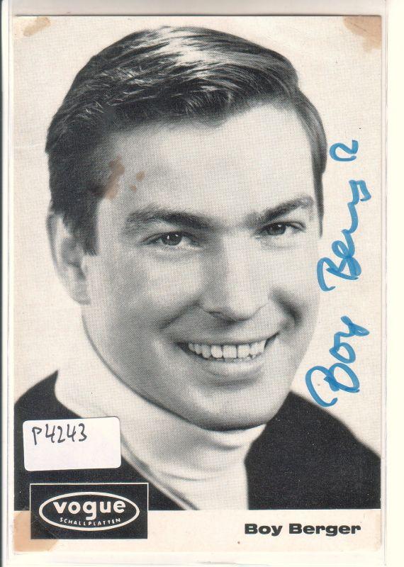 Autogrammkarte Boy Berger signiert umseitig Diskographie