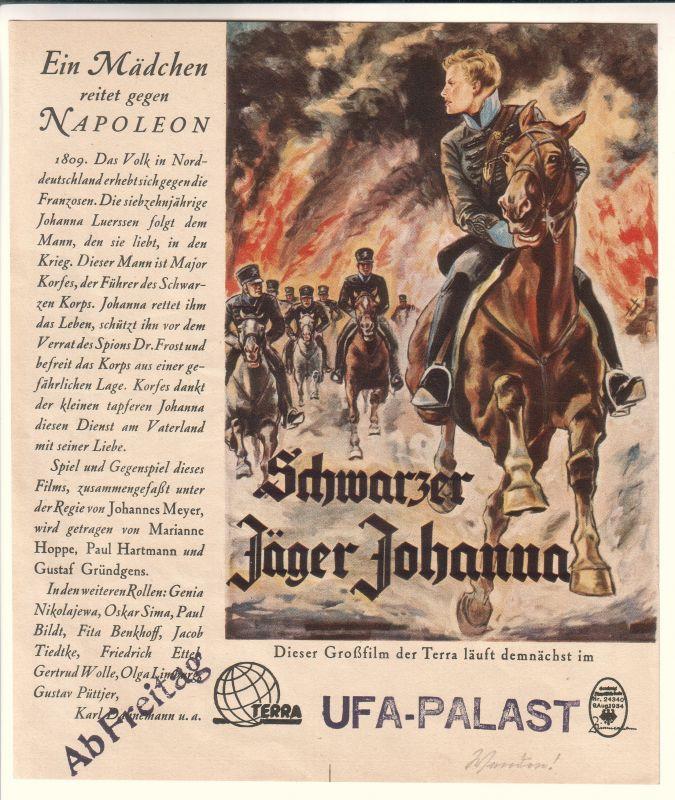 """Aushangfoto oder Werbeblatt der Terra für """"Schwarzer Jäger Johanna"""". Dieser Großfilm der Terra läuft demnächst im UFA-Palast. Wohl 1930er Jahre."""