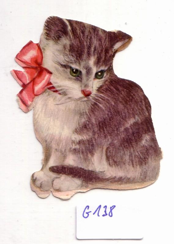 Glanzbild Große Katze mit Schleife um den Hals, Katzenkind, ohne Glitter [Glitzer] ca. 6,5 x 4,5 cm