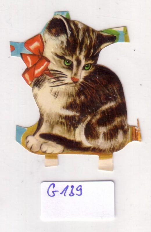 Glanzbild Kleine Katze mit Schleife um den Hals, Katzenkind, ohne Glitter [Glitzer] ca. 5 x 4 cm