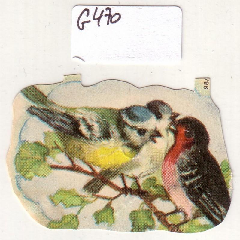 Glanzbild Drei Vögel auf einem Ast, Meise Meisen ?, Rotkehlchen ?, ohne Glitter [Glitzer] ca. 3,5 x 5 cm