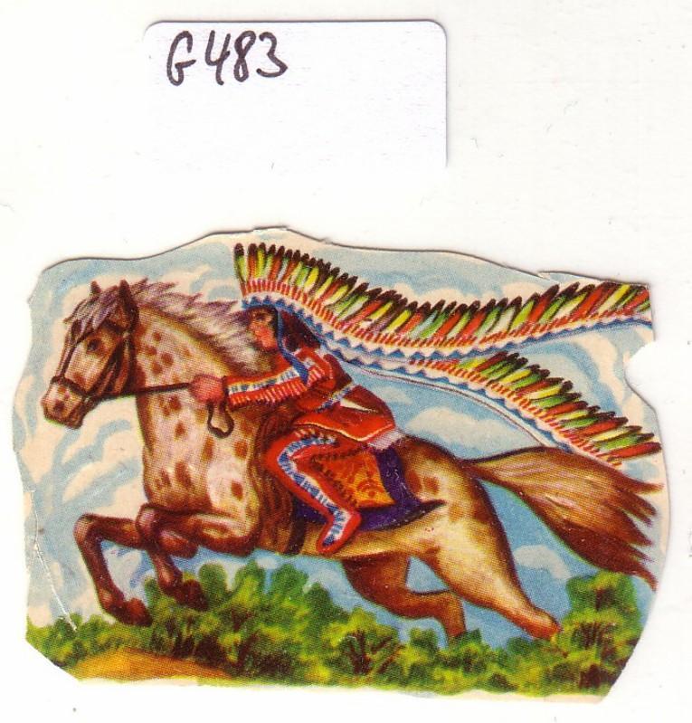 Glanzbild Indianer/Häuptling reitet auf Pferd, Federschmuck, ohne Glitter [Glitzer] ca. 3,7 x 5,4 cm