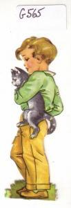 Glanzbild Kind trägt Katze unterm Arm, ohne Glitter [Glitzer] ca. 8 x 2,6 cm