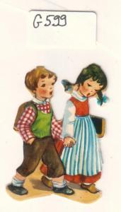 Glanzbild Zwei Kinder gehen Hand in Hand zur Schule, Schulranzen, ohne Glitter [Glitzer] ca. 5 x 3,5 cm