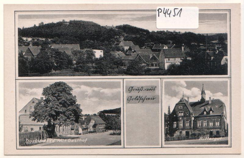Gruß aus Goldschau Dorfstrasse Gasthof Rittergut Totale