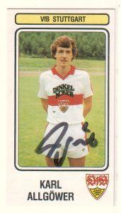 Panini-Sammelbild Karl Allgöwer signiert, VfB Stuttgart, Panini Fussball 83 Nr. 375
