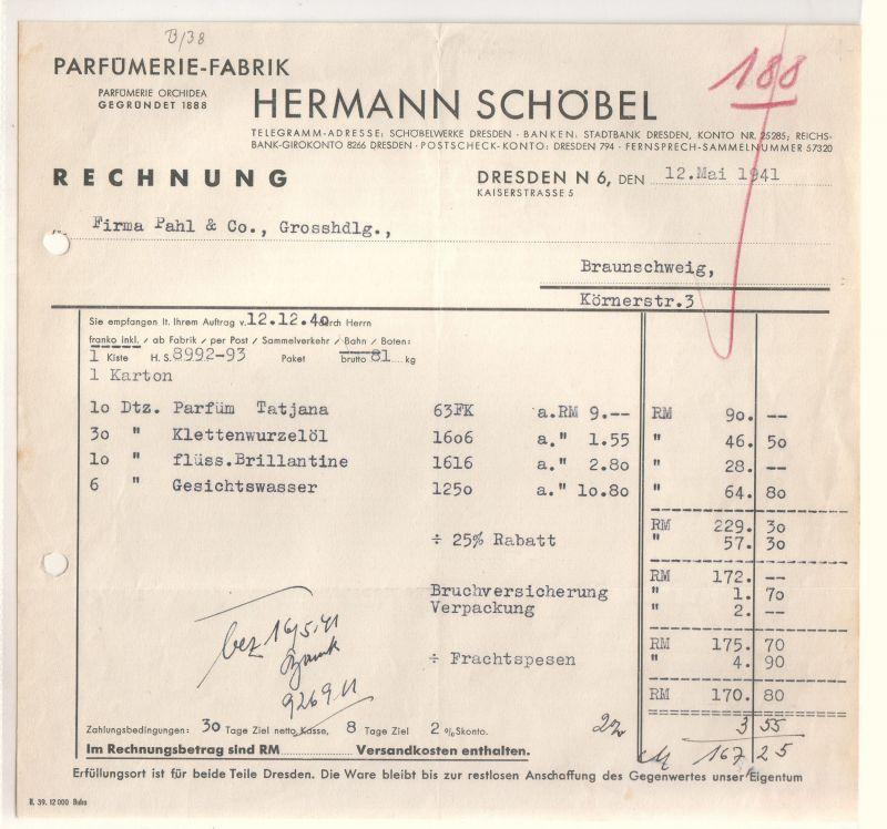 Rechnung Hermann Schöbel Parfümerie-Fabrik Parfümerie Orchidea Dresden 1941 Hermann Schöbel
