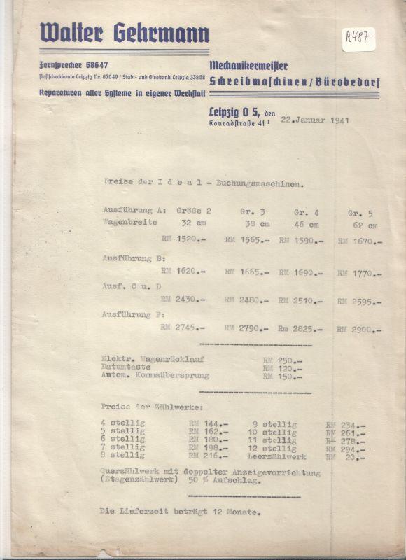 Schreiben Preise D Ideal Buchungsmaschinen Walter Gehrmann