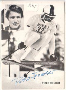 Autogrammkarte Peter Fischer signiert, Skifahrer, Skirennfahrer