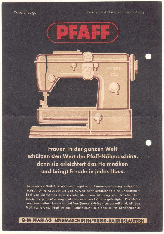 Pfaff Nähmaschine Nr. P5338 - oldthing: Varia: Firmen- & Festschriften