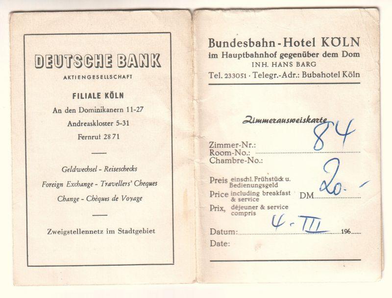 Zimmerausweiskarte Bundesbahn-Hotel Köln