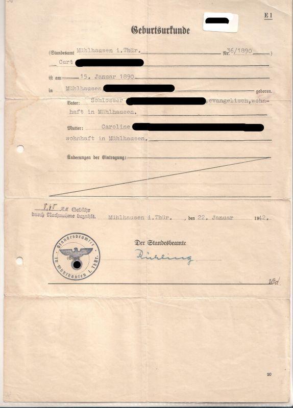 Geburtsurkunde Mühlhausen