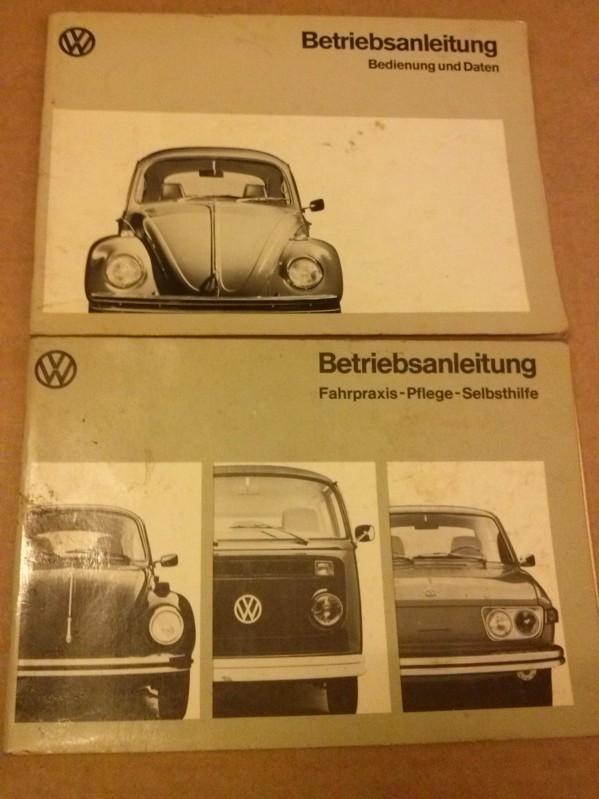 Betriebsanleitung: Bedienung und Daten + Fahrpraxis-Pflege-Selbsthilfe - 2 Anleitungen - 2 Bände - 2 Hefte - Typ 1, 2 und 4 - VW 1200 VW 1300 inkl. Einlegeblatt Sicherheitsgurte VW AG Wolfsburg
