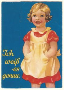 """Faltbroschüre/Faltwerbung (2x halb und dann noch 2x ganz, fast wie ein Leporello) """"Ich weiß es genau!"""" der Firma Maggi. Innenseiten mit Werbung für Maggi [Maggis] Fleischbrühe Einfach und Schnell, Maggi [Maggis] Würze sowie Maggi [Maggis] Sup..."""