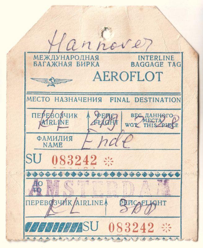 Kofferanhänger Kofferzettel AEROFLOT - Interline Baggage Tag. Ausgefüllt und mit englischen und russischen Bezeichnungen.